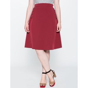 ELOQUII Button A-Line Skirt